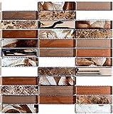 Mosaik Fliese Transluzent braun silber Riemchen Glasmosaik Crystal Stein braun für WAND BAD WC DUSCHE KÜCHE FLIESENSPIEGEL THEKENVERKLEIDUNG BADEWANNENVERKLEIDUNG Mosaikmatte Mosaikplatte