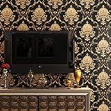 10 x 0,53 m 3D schwarz gold Vintage Damast wasserdicht geprägt strukturierte PVC-Tapete Rolle für Schlafzimmer Wohnzimmer 5 m B x L = 5,3 m²
