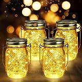 4 Stück Solarlampen Außen | 40er LED Solar Licht mit Windmühlenmuster für Garten | Solarglas Lichterkette Leuchten Solarleuchten Wasserdichte Hängeleuchten Gartendeko für Party, Hochzeit, B