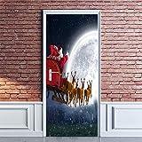 QHOXAI Fototapete Türtapete Selbstklebend 3D Türposter - Abnehmbar Fototapete Türfolie Poster Tapete Weihnachtskutsche Am Nachthimmel Türaufkleber Für Tür, Wohnzimmer Schlafzimmer Wandbild 85X205Cm
