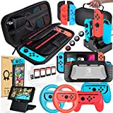Deruitu Zubehör Set für Nintendo Switch (18 in 1) - Switch Accessories Bundle mit Tasche, Schutzfolie, Schutzhülle, Ständer, Joycon Griff und Lenkrad, Ladestation für Joy-Con C