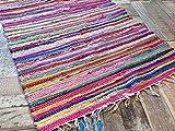 Teppich, 100 % recycelte Baumwolle, handgefertigt, mehrfarbig, Chindi-Teppich, 40 x 60