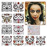 YOTINO 10Stk Temporäre Gesicht Tattoos, Tag der Toten Gesichtstattoo Schädel, Halloween Gesicht temporäre,temporär Tätowierung Klebe Tattoo Aufkleber für männer Frauen