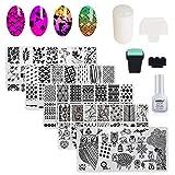 AIMEILI Nail Art Plates Nagelstempel Maniküre Tool Kit 5Pcs Nagel Stamping Schablonen, 2 Stempel, 2 Schaber, 1 Latex Peel Off Tape