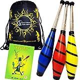 Beach Jonglierkeulen 3er-Set / Jonglier Keulen Training Set + Mr Babache Keulen-Booklet + Flames N Games Reisetasche! Große Keulenjonglage Set für Kinder & Erwachsene! (Gelb)