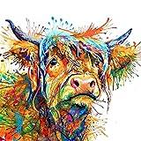 bdrsjdsb Bunte Kuh dekorative Leinwand Malerei Wandkunst Wohnzimmer Home Decor 50 * 50 cm