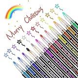 Outline Stifte,12 Farben Besondere Stifte,Wasserfester Magische Stifte Kinder,Steinmalerei Acrylfarbenstifte,Glossy Magic Stifte für Design Schule Manga Kunstler,Steine Bemalen,DIY Fotoalben
