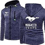 Herren-Sweatshirt-Zip-Hoodie - Ford Mustang-Druck Unisex Lässig Mit Kapuze Langarm Sport Jacke Hoodies - Teens Gift C-Large