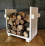 Kaminholzregal, Ständer für Kaminholz Kaminholzständer Kaminholzablage vintage shabby aus Holz fertig montiert (Weiß)
