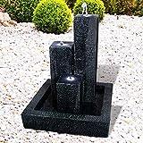 Gartenbrunnen Brunnen Zierbrunnen Zimmerbrunnen Springbrunnen Brunnen mit Trio-Basalt mit LED-Licht - 230V Wasserfall Wasserspiel für Garten, Gartenteich, Terrasse, Balkon Sehr Dekorativ