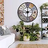 Große Vintage Wanduhr Retro XXL Antike Metall Uhr Edelstahl Groß Shabby Chic römische Ziffern Gross für Wohnzimmer Wand Ø 80 cm Wall-Art (Metall Bunt)