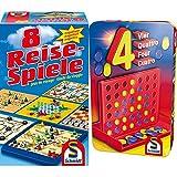 Schmidt Spiele 49102 - 8 Reise-Spiele, Spielesammlung, magnetisch, bunt & 51214 BMM Vier, Bring Mich mit Spiel in der Metalldose, bunt