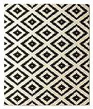 Hanse Home Velours Teppich Raute Schwarz Creme, 80x200 cm