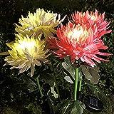 3 x LED-Solarleuchten Chrysanthemenlicht für den Außenbereich, wasserdichte LED-Lampe, Gartensimulation, Blume, Rasen, Rosa