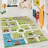 Paco Home Kinderteppich Spielteppich City Hafen Straßenteppich Stadt Straße Grau Grün, Grösse:120x170
