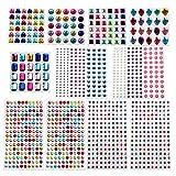 MOKIU Glitzersteine selbstklebend Strasssteine Schmucksteine Klebesteine zum Aufkleben und Basteln bunt 1121 verschiedene Farben und Formen