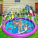 INNOCHEER Splash Pad, Sprinkler Play Matte, 172cm Wasser-Spielmatte Splash Play Matte - Aufblasbares Planschbecken mit lustigem Ringwurfspiel, Sommer Garten Wasserspielzeug für Baby Kinder Hund