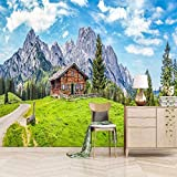 ZZXIAO Snowy Mountain Cottage 3D Fototapete Wandbild Motiv wandpapier fototapete 3d effekt tapete Wohnzimmer Schlafzimmer Hintergrundbild-300cm×210cm