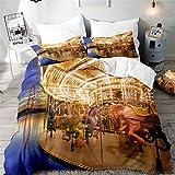 Surwin Bettwäsche-Set 3 Teilig Single Doppelt King Größe, Mikrofaser 3D Bettwäsche Set Karussell Drucken Bettbezug mit Reißverschluss + 2 Kissenbezüge für Jungen Mädchen (Leuchtenden,135x200cm)