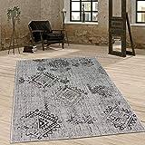 Paco Home In- & Outdoor Teppich Vintage Design Rautenmuster Flachgewebt In Grau, Grösse:160x220