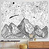 Mond Wandteppich Indisches Mandala Schwarz und Weiß Sternenhimmel Europäischen Muster Wandtuch Schlafsaal Wohnzimmer Dekoration Tapisserie A19 180x230cm