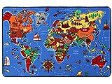Spielteppich Lernteppich für Kinder - Weltkarte, 130x200 cm, Pflegeleicht, Fußbodenheizung Geeignet, Kinder-Teppich für Jungen und Mädchen