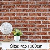 Für Wohnkultur. DJM Eisen Phosphat Kreative 3D Steinziegel Dekoration Tapete Aufkleber Schlafzimmer Wohnzimmer Wand wasserdichte Tapete Rolle, Größe: 45 x 1000 cm