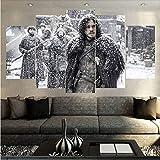 LIVELJ 5 Teilig leinwandbilder XXL Wohnzimmer Leinwandbild modern Dekoration HD Poster Panel Benutzt für Wohnzimmer Büro Geschenk Game Thrones Jon Gesamtgröße: (H-100 cm x M/B-200 cm)