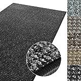 casa pura Kurzflor Teppich Carlton | Flachgewebe dezent Gemustert | robuster Schlingenteppich in vielen Größen | als Wohnzimmerteppich, Küchenteppich, Schlafzimmerteppich (Anthrazit - 80x150 cm)
