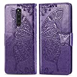 FEYYXI Handyhülle für Sony Xperia 1 Hülle Leder Schutzhülle Brieftasche mit Kartenfach Stoßfest Handyhülle Case für Sony Xperia1 - FESD21248 Violett