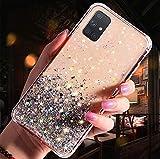 Uposao Kompatibel mit Samsung Galaxy A51 Hülle Glänzend Glitzer Strass Diamant Sterne Transparent TPU Silikon Handyhülle Weiche Dünn Durchsichtig Schutzhülle Tasche Crystal Case,Silb