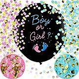 Gender Reveal Ballon 2 Stück 36 Zoll XXL Geschlecht Verkünden Ballons Boy or Girl Konfetti Füllung Rosa Blau Offenbaren Ballon Dekoration Babyshower Party