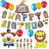 JeVenis 37PCS Zirkus Geburtstagsballons Zirkus Geburtstag Banner Zirkus Geburtstag Dekor Karneval Party Dekorationen Clown Dekorationen