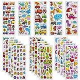 3D Aufkleber für Kinder Kleinkinder Lebhaft Relief Kinder Aufkleber 24 Verschiedene Blätter über 600+ Farbig Aufkleber 3D für Jungen Mädchen Lehrer, inkl. Zahlen Buchstaben Dinosaurier Autos usw
