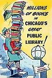 Unnown Poster aus einer Reihe von Werbepostkarten über den Besuch der Stadt Chicago als Reiseziel mit Schutzpatron der öffentlichen Bibliothek, 24 x 36 cm