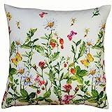 Raebel OHG Kissenhülle 40 x 40 cm mit Reißverschluss Kissenbezug Ostern Tischdeko Frühling weiß bunt Blumen und Schmetterlinge