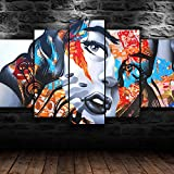 5 Panel Modern Giclee Framed Canvas Wall Art Picture Print Living Room Bunte Zeichnung des Graffiti-Mädchens Photo Prints On Canvas