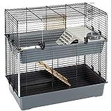 Ferplast 57046817 Doppelstockkäfig für Kaninchen, Maße: 99 x 51,5 x 92 cm, schwarz