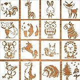 16 Stück Tiermalerei schablone, Malvorlagen für Kinder, Zeichnung Malerei Vorlage, Stencil Schablonen für Scrapbooking Fotoalbum, DIY Geschenkkarten, Geschenke Kinder