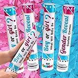 Gender Reveal Konfetti Kanone He or She (Junge oder Mädchen) 2 Rosa und 2 Blau 30cm Konfetti Shooter Sicher Luftkomprimierte Poppers für Babyparty Geschlecht Offenbaren