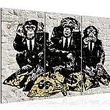 Runa Art Street Art Affen Bild Wandbilder Wohnzimmer XXL Grau Duke of Lancaster UK 120 x 80 cm 3 Teilig Wanddeko 303431a