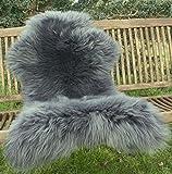 Zaloop Lammfell Schaffell grau versch. Größen echtes Fell Neu (grau, ca. 110-120 cm)