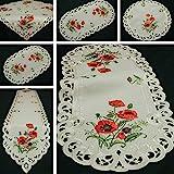 Quinnyshop Roter Klatschmohn Stickerei Tischläufer 40 x 110 cm Oval Polyester, Creme