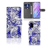 B2Ctelecom Ihr Eigenes Bild Foto Brauch Klapphülle für Samsung Galaxy S20 Plus Handyhüllen Engel Schädel-Blau