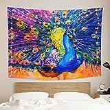 onetoze Pfau Wandteppich Wandbehang Feder Wandtuch Tapisserie Bunt Wanddeko Wandkunst Dekoration für Schlafzimmer Wohnzimmer Wohnheim Zimmer Tagesdecke, 130x150cm