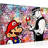 Runa Art Mario and Cop Banksy Bild Wandbilder Wohnzimmer XXL Grau Street Art 120 x 80 cm 3 Teilig Wanddeko 303031