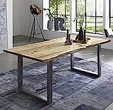 SAM Esszimmertisch 120x80 cm Quintus, echte Baumkante, naturfarben, massiver Esstisch aus Akazienholz, Metallbeine Silber, Baumkantentisch