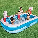 XIUYU Familien-aufblasbarer Swimmingpool mit Basketball-Reifen, einfach eingestellter Pool-Set, voller Familienlounge-Pools, Sommer-Wasserparty