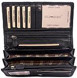 Hill Burry Leder Geldbörse   echtes Vintage Leder - XXL weiches Portemonnaie RFID (Schwarz)
