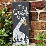 Rustikales Holzschild mit der Quack Shack, Entendekoration, Entenhaus, Bauernhof-Schild, Altholz, Outdoor-Schild